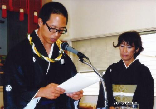 Lucas Nakao giving a sermon on September 14, 2013